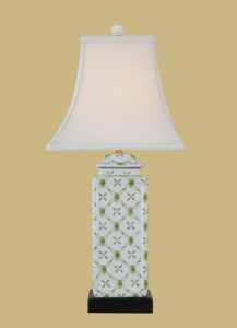 """Green/white Square Lamp/Shade, 22.5"""" tall, 11"""" wide"""