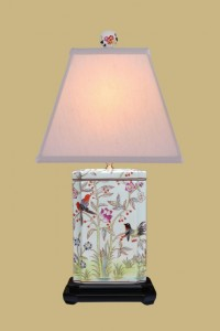 "Bird Rectangle 25 x 14"" silk pyramid shade"