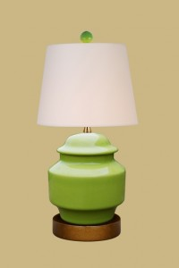 "Apple Green Jar, 16 x 8"" off-white drum shade"