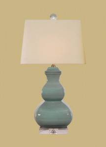 "Celadon Green Crackle 25 x 14"" Beige Linen Square shade"