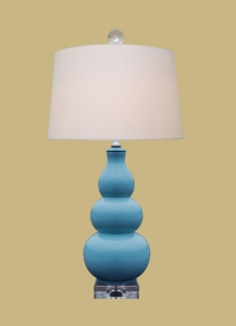 """Turquoise Gourd Lamp, 22"""" tall, 12"""" wide"""