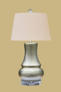 "Antique Silver Leaf Table Lamp, 23""h.x14""w."