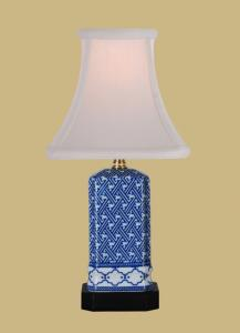 "Square Blue and White Mini Lamp, 16""h.x7""w."
