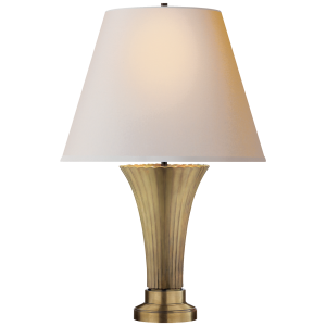 "Rubbed Brass Table Lamp, 24.5""h. x 16""w."