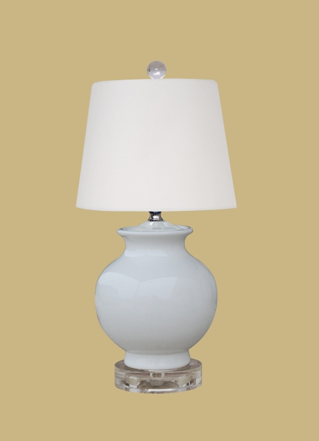 Small Gray Porcelain With Crystal Base Chip In Back 16 Tall 8 White Linen Drum Shade